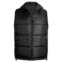 Maximos Men's Reversible Water Resistant Zip Up Puffer Vest (Small, Black/Black)