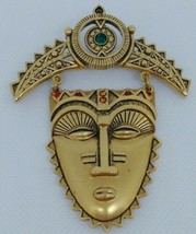 Avon Tribal Mask Brooch Pin Signed Aztec Rhinestones Face Articulated Go... - $14.49