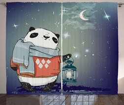 Kids Curtains Panda Bear with a Scarf Outside in The Starry Winter Night... - $131.70