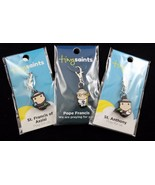 Tiny Saints Set Pope Francis, St. Anthony, St. Francis of Assisi 3 Charms - $16.20