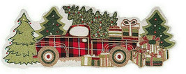 "Christmas Buffalo Red Plaid Farm Truck 35"" Beaded Table Runner Lodge Farm - $93.93"