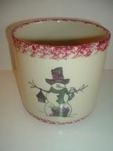 Gerald Henn Red Spongeware Snowman Crock - $23.99