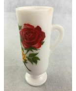 Avon Red Yellow Roses Flowers Footed White Milk Glass Vase with Handle 2... - $12.05