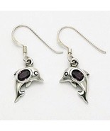 Silver dolphin earrings with amethyst stone - $18.95