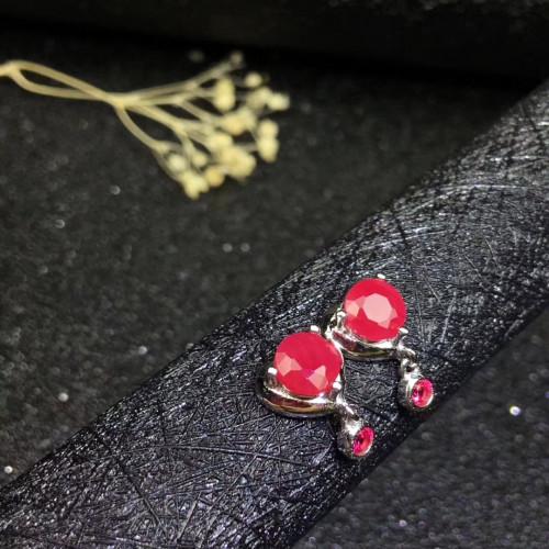 Fashion ruby sterling silver studs