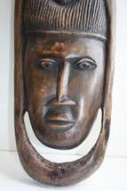 Antique XXL Wall Plaque African Primitive  Wooden Art Heavy Hard Wood Ha... - $139.99