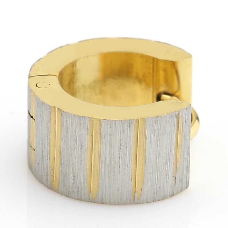 UNITED ELEGANCE Stylish Two Tone (Silver & Gold Tone) Huggie Hoop Earrings image 2