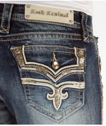 Rock Revival Jeans Mid Rise Posey Flap Pocket Easy Bootcut Stretch Jean ... - $86.78