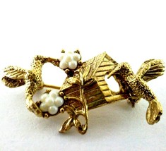 Vintage Faux Pearl and Gold Tone Hummingbird Home Flowers Lapel Pin Brooch - $30.39