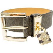 Michael Kors Women's MK Logo Premium Faux Leather Belt Hamilton Lock 553305 image 9