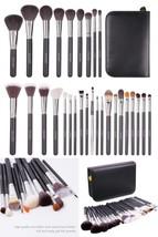 Makeup Brush Set 29 Pcs Goat Hair Brushes Soft Face Eyes Blending Leathe... - $43.52