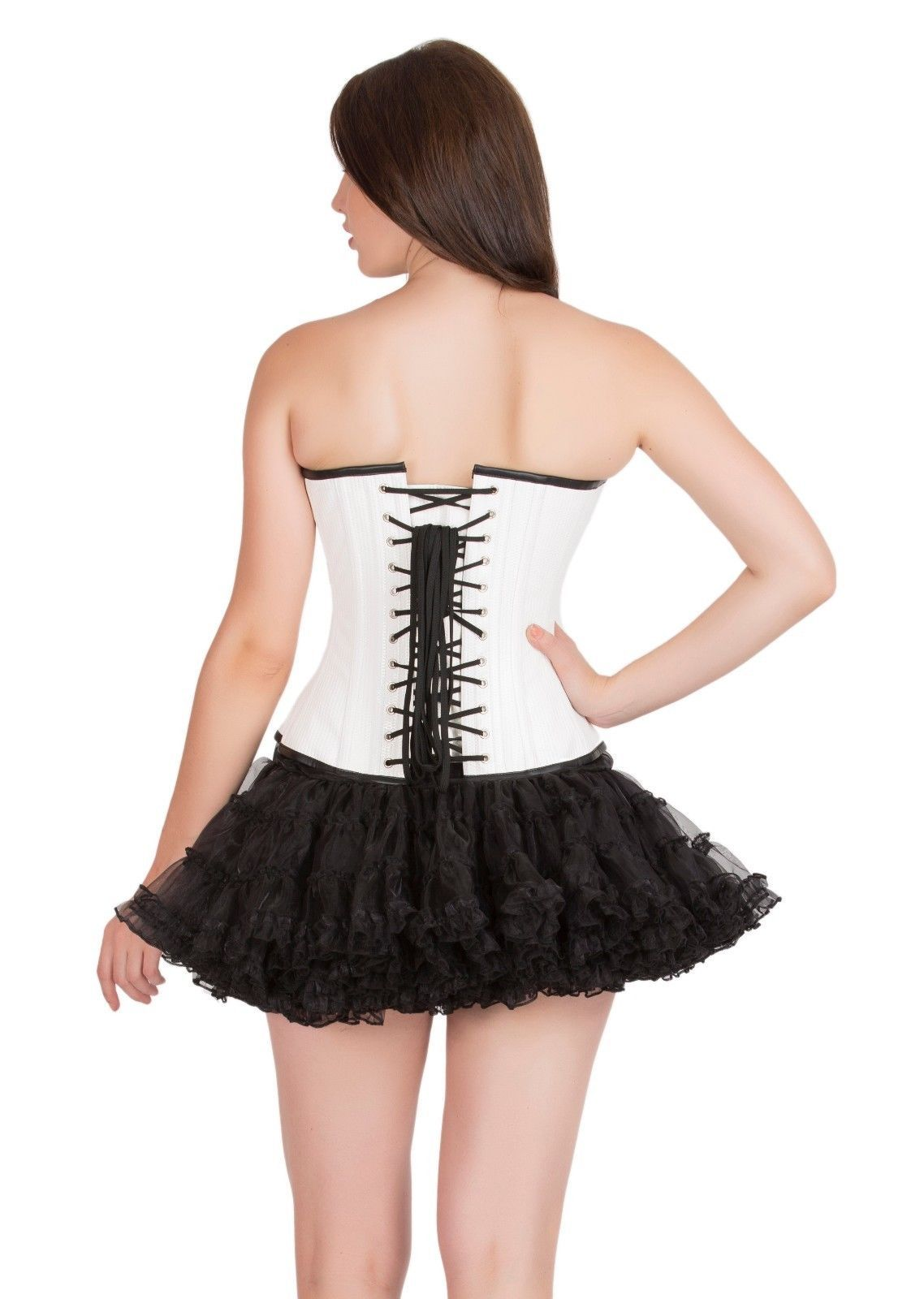 White Rice Leather Burlesque Gothic Steampunk Waist Training Overbust Corset Top