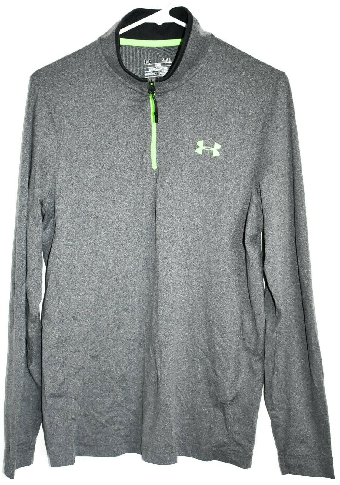 Under Armour Men's Loose Cold Gear 1/4 Zip Grey & Green Long Sleeve Shirt SM