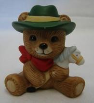 Teddy Bear Cowboy Figurine Vintage Homco Hat Bandanna Horse Stick Pony - $14.52