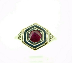 14k Gold Art Deco Filigree Ring with .60ct Genuine Natural Ruby (#J1876) - $525.00