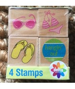 Delta Creative Wooden Rubber Stamps Package of 4 Hangin' Out, Bikini, Fl... - $14.84