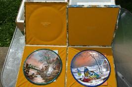 Lot of 2 ''JEAN PAUL LOUPE'' Enamel Copper Christmas Plates Signed Certi... - $177.61