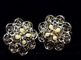Vintage Pair Clip On Earrings Silver Tone Diamond Pearl Flower Costume J... - $10.66
