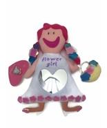"Toffee Sticks Dolls Soft Plush Toy 14"" Flower Girl Pink Hair Mirror Rattles - $9.20"
