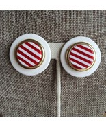 80s Lucite Red White Gold Layered Striped Chunky Nautical Round Button C... - $19.00