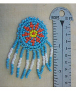 """LOT OF 10, 1-1/4"""" TURQUOISE BEADED ROUND ROSETTE, 1.25"""" x 2.25"""" long, BR... - $7.42"""
