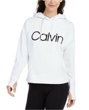 Calvin Klein Performance Relaxed Logo Fleece Hoodie, White, XXL - $37.80