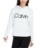 Calvin Klein Performance Relaxed Logo Fleece Hoodie, White, XXL - $37.80