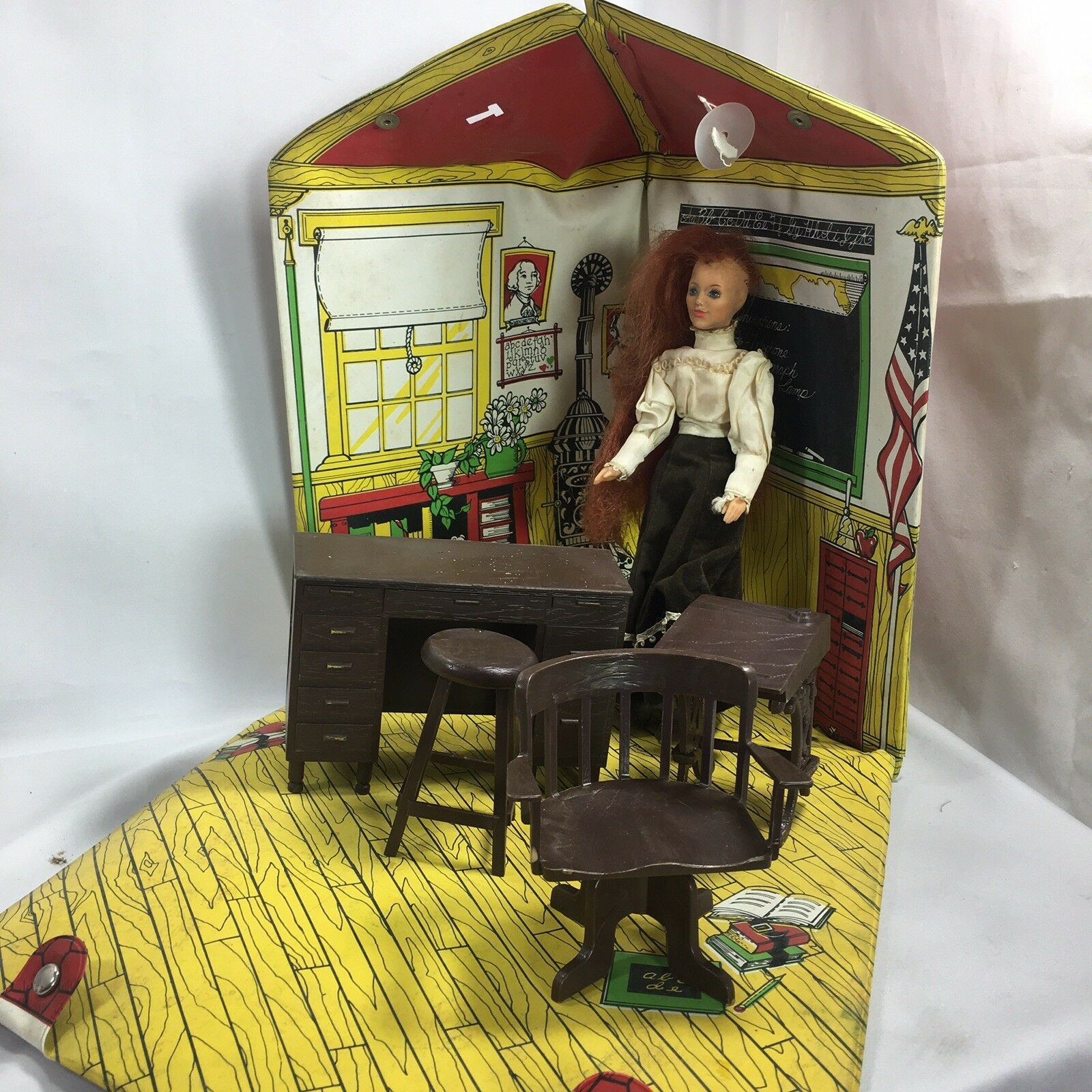 Primary image for Vintage Ideal 1976 Jody's School House Doll Case And Furniture