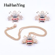 Crystal Animal Pearl Bee Necklace Earrings Set for Women Large Insect Fa... - $25.15