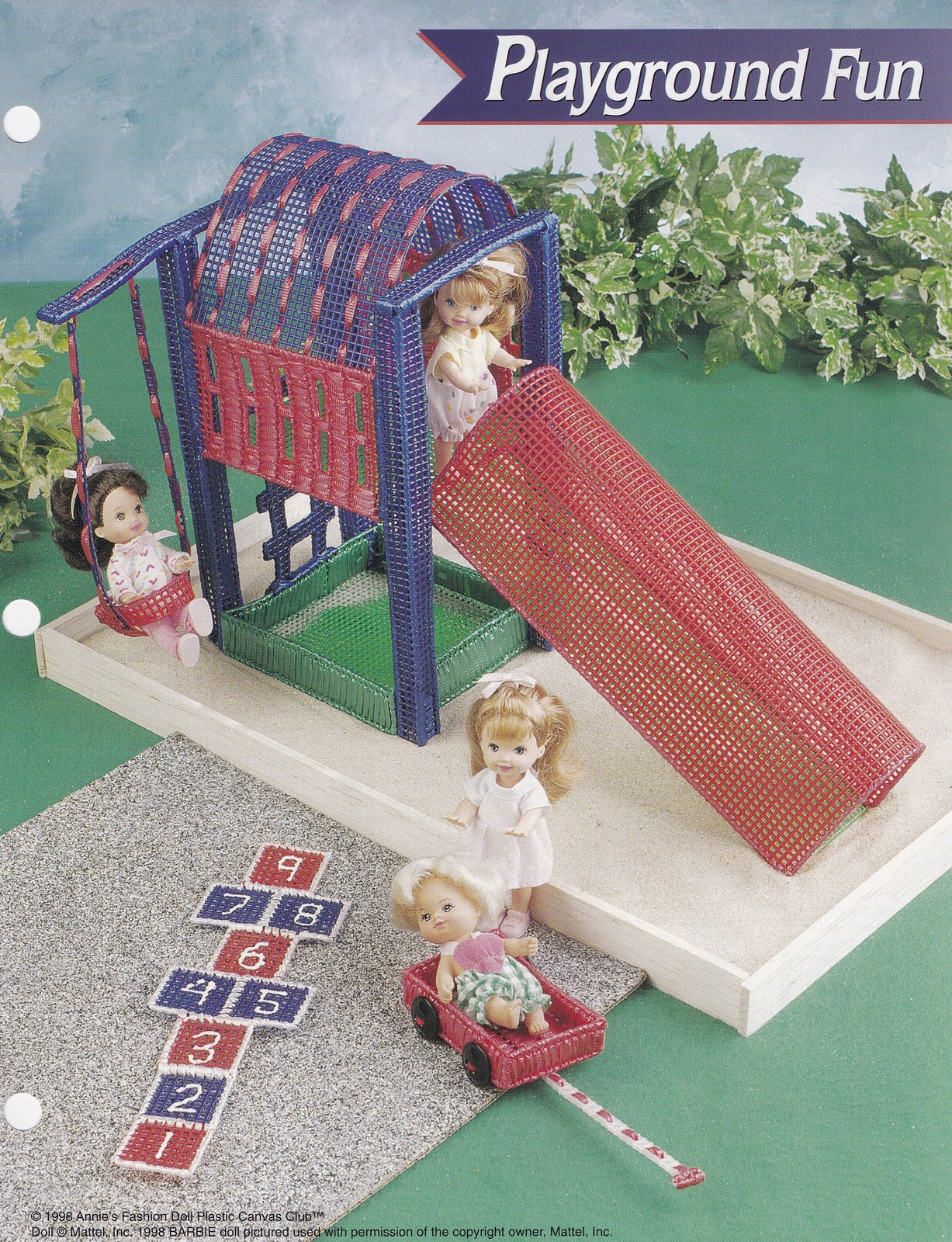 Primary image for Playground Fun, Annies Plastic Canvas Pattern FP35-02 Doll Slide Swing Wagon HTF