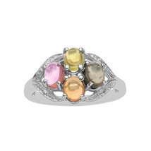 Multi Tourmaline Gemstone 925 Fine Silver Cluster Wedding Gorgeous Women... - $39.12