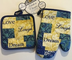 INSPIRATIONS OVEN MITT SET 2pc Mitt Potholder Love Laugh Dream Blue Beige - $8.99