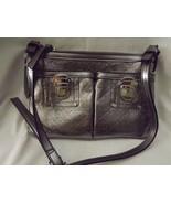 "Dana Buchman Ladies Crossbody Purse Handbag Metallic Pewter Silver 10"" x... - $22.22"