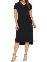 H BY HALSTON Size MP Midi Length Hi-Low T-Shirt Dress BLACK - $39.57