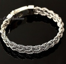 Mens Sterling Silver Bracelet Hand Crafted Woven 5 Ropes Chain Hip Hop Solid b15 image 1