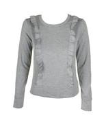 Maison Jules Ruffle-Trim Sweatshirt Silver Medium - $58.91