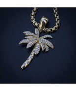 Iced Out Lab Diamond 14k Gold Palm Tree Pendant Necklace - $29.99