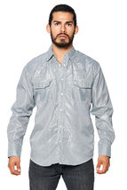 LW Men's Classic Checkered Striped Western Rodeo Pearl Snap Button Up Shirt image 13
