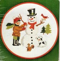 """Vintage New Berlin Counted Cross Kit Snowman w 7"""" Hoop Boy Building Snow... - $23.39"""