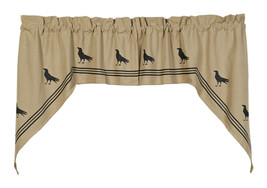 primitive country farmhouse cabin black/tan Olde Crow bird SWAG window curtains - $46.95