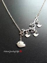 Mom Bird Baby Birds Branch Necklace Silver Mom Bird Baby Birds Necklace ... - $44.00+