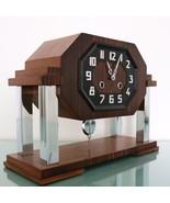 KIENZLE Clock Mantel ART DECO 3 Bar Chime Chrome PILLAR Features SERVICE... - $1,275.00