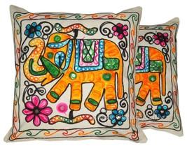 """16 """" Elefanten Stickerei Kissenbezug Sofa Wurf Wohndeko (2er Set) - $10.88"""