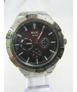 Relic Watch by Fossil Day Date Quartz Stainless Steel Sport Gunmetal Red... - $22.80