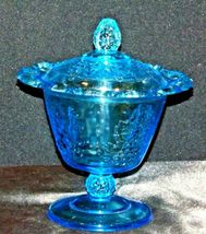 Blue Pedestal Candy Compote Depression Glass 2 piece AA19-CD0025 Vintage image 8