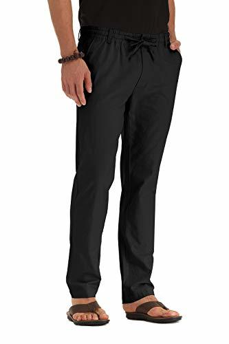 ZYFMAILY Men's Linen Drawstring Casual Beach Pant-Lightweight Summer Trousers Bl