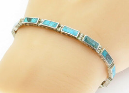 MEXICO 925 Silver - Vintage Turquoise Inlay Bar Link Chain Bracelet - B5828 - $54.41