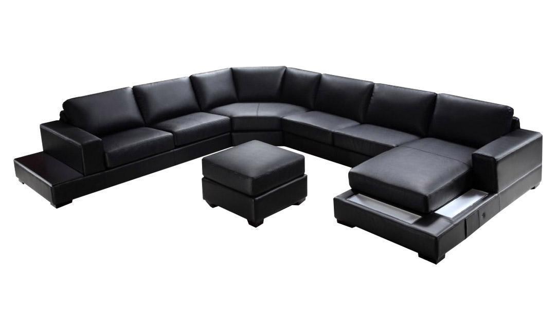 Soflex Baltimore Ultra Modern Black Faux Leather Sectional Sofa Set