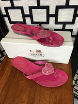 Coach Poppy Sophie Pink Patent Flip Flop Thong Sandals Graffiti Hearts With Box - $24.75