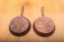 2 Brass Colored Hanging Skillets Fruit Pattern Grape and Pear and Cherry - $37.39
